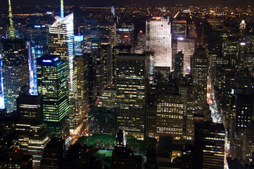Manhattan de nuit, depuis l'Empire State building - New York USA