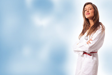 Female Doctor on colorful background
