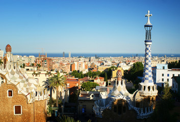 Overview of Barcelona from Park Guell, Spain