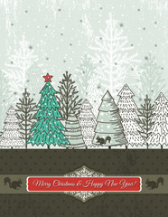 christmas background with christmas trees, vector
