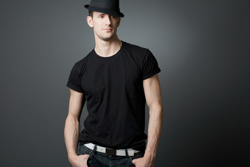 Young handsome guy in black t-shirt.