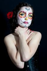 Dead bride woman in skull face art mask. Halloween