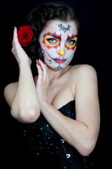 Dead bride woman in skull face art mask. Helloween