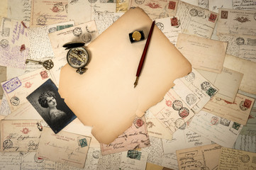 antique paper, old accessories and postcards