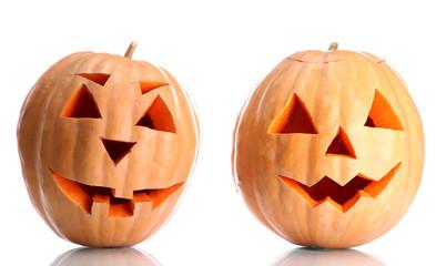 halloween pumpkins, isolated on white