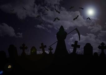 cemetery - skeleton and vampire