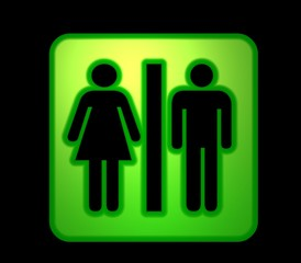 Green wc sign