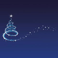 Weihnachten - Hintergrund - Baum - Sterne - Blau