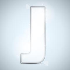 Alphabet Glass Shiny with Sparkles on Background Letter J