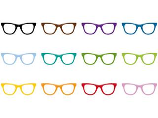 Freigestellte Nerdbrillen in allen Farben als Vektor