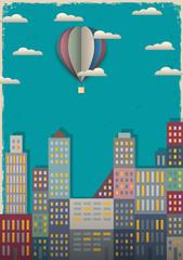 Town and air balloon
