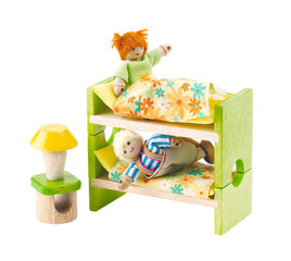 Wooden bed toy furniture for children learning to decorates