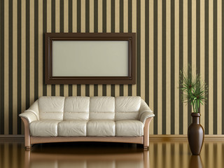 sofa and plant in vase on a background of striped wall