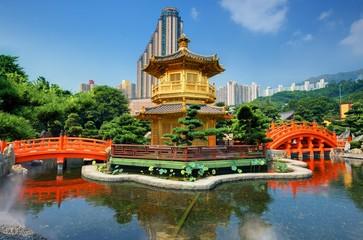 Foto op Plexiglas Hong-Kong Nan Lian Garden's Golden Pavilion in Hong Kong