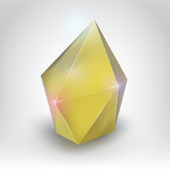 Yellow crystal (Vector illustration of a realistic gemstone)
