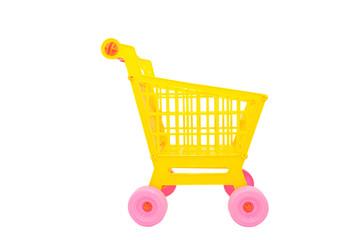 Yellow shopping cart isolated on white background