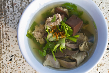 Pork blood soup in Thailand