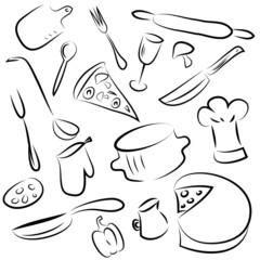 set of kitchen elements