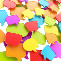Group of speech text bubbles as abstract background