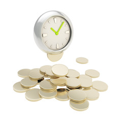 Stack of coins under the clock isolated on white