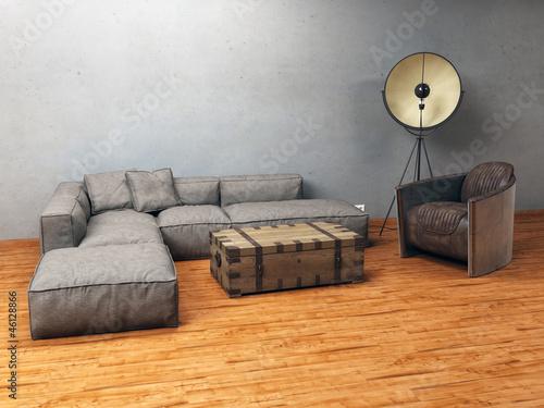 moderne sitzecke mit rustikalen vintage m beln und. Black Bedroom Furniture Sets. Home Design Ideas