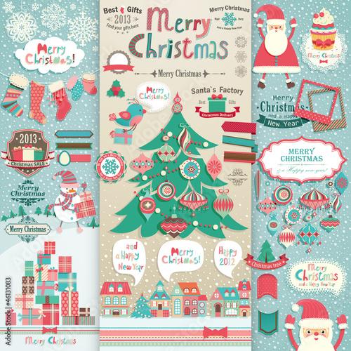 Wall mural Christmas scrapbook elements.