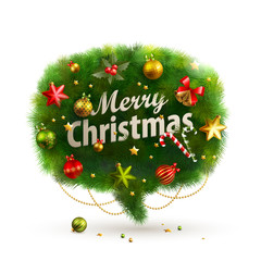 Wall Mural - Christmas Bubble for speech - fir tree