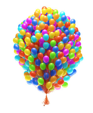 Big bunch of party balloons. Isolated on white background.