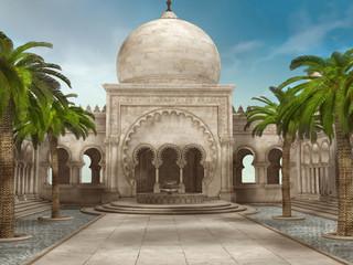 Pałacowy dziedziniec z palmami i fontanną