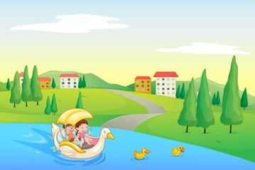 Wall Murals River, lake a river and kids
