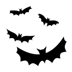 four flying bat silhouettes vector illustration