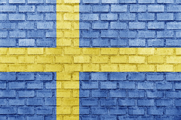 Sweden flag on a brick wall