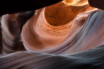 Staande foto Canyon rocce erose dall'acqua nell'antelope canyon in Utah