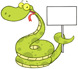 Happy Snake Cartoon Character Holding Up A Blank Sign