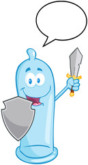 Happy Condom Guarder With Shield,Sword And Speech Bubble
