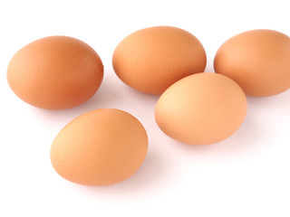 brown eggs isolated on white background