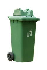 Large outdoor green garbage bin on white background