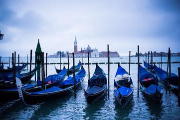 Gondolas at St Marco Square in Venice, Italy