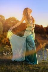 Bohemian lady at river
