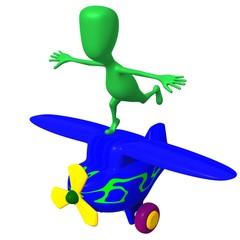 View green puppy imitate flight on airplane