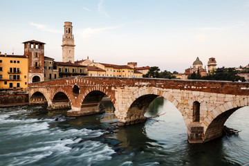 Wall Mural - View of Adige River and Saint Peter Bridge in Verona, Veneto, It
