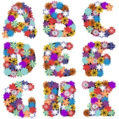 alphabet with flowers on white background part 1
