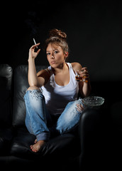 Woman smoking and alcoholic drinking