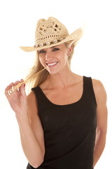 Woman black tank smile wheat mouth