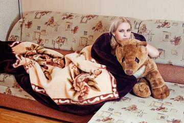 woman with teddy bear