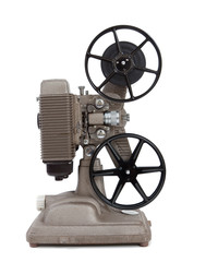 An antique 8mm movie projector on a white background