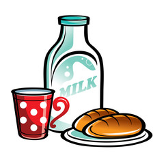 Bottle of Milk with red cup and pies