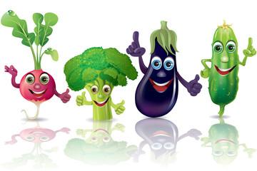 Funny vegetables, radishes, broccoli, eggplant, cucumber