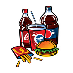Fast Food - Bottles with Cola and fries with hamburger
