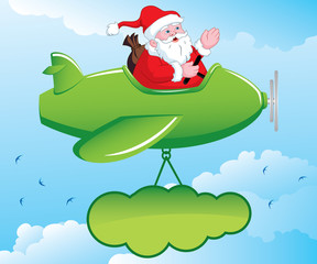 Acrylic Prints Airplanes, balloon Santa in Aeroplane